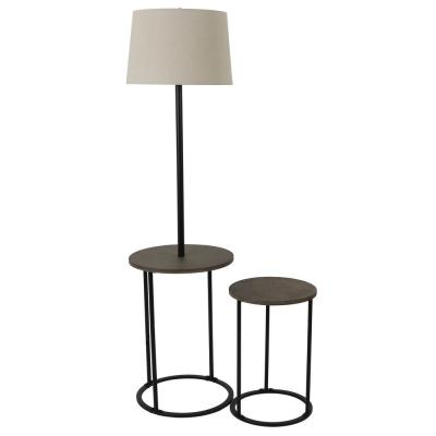Ricard 58 in. Black Floor Lamp with Nesting Table Set