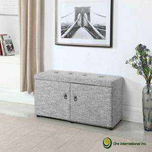 Dove Grey Shoe Storage Ottoman by