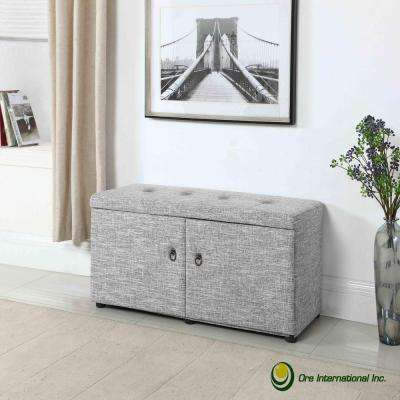 Dove Grey Shoe Storage Ottoman