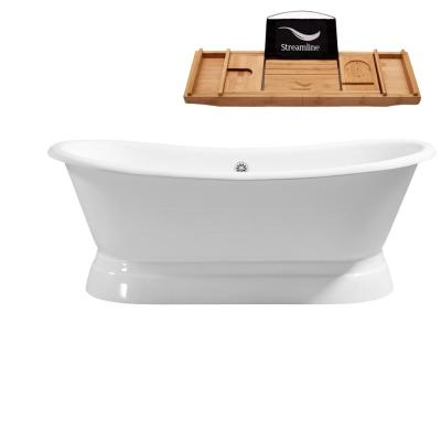 71 in. Cast Iron Flat Bottom Non-Whirlpool Bathtub in White