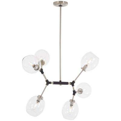 Nexpo 6-Light Brushed Nickel Chandelier with Clear Glass Shade