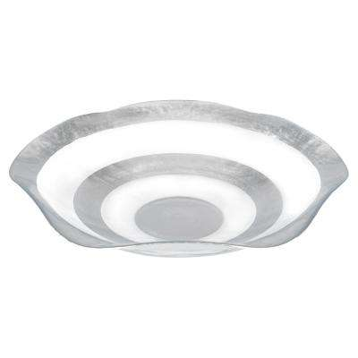 19 in. Dia Round Leaf Wave Bowl in Silver