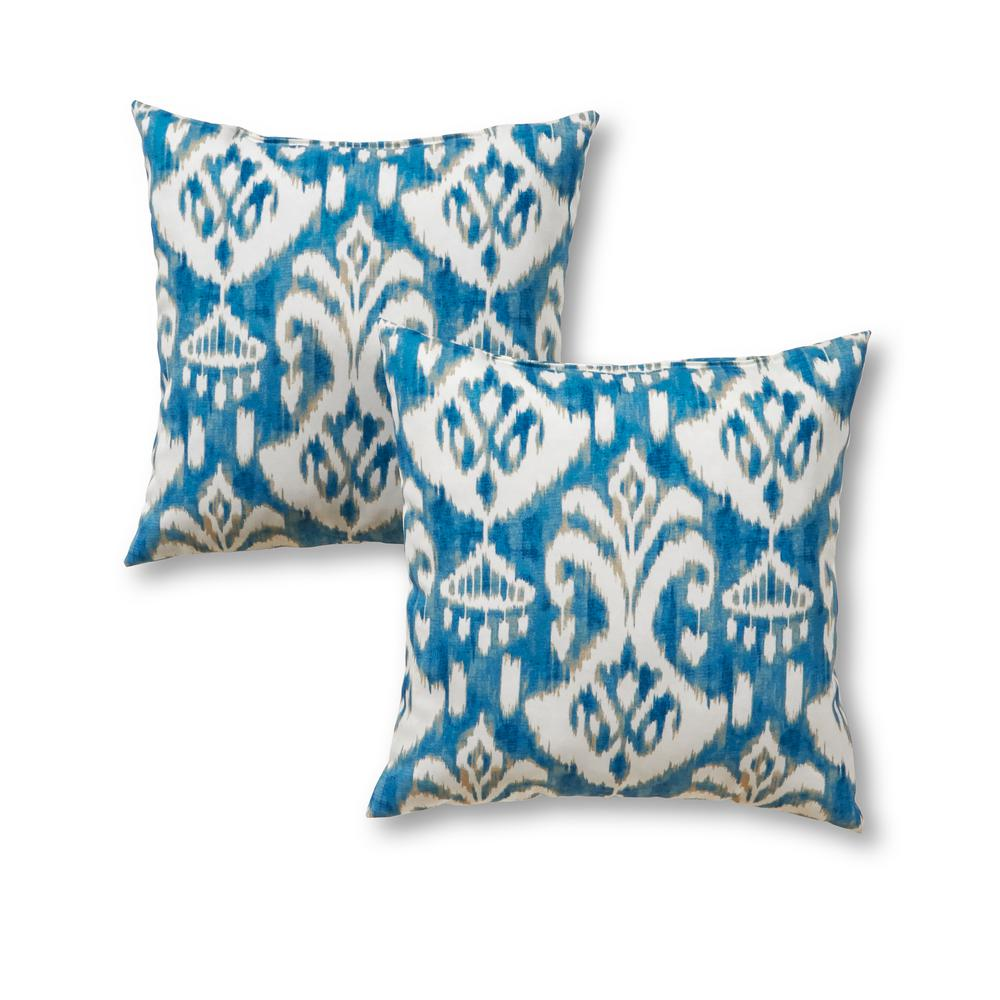 Greendale Home Fashions Seaside Ikat Square Outdoor Throw Pillow 2