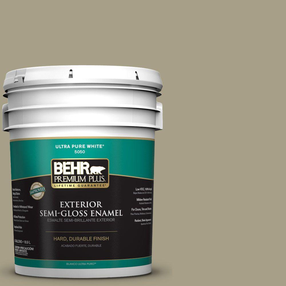 BEHR Premium Plus 5-gal. #N340-4 Tent Green Semi-Gloss Enamel Exterior Paint
