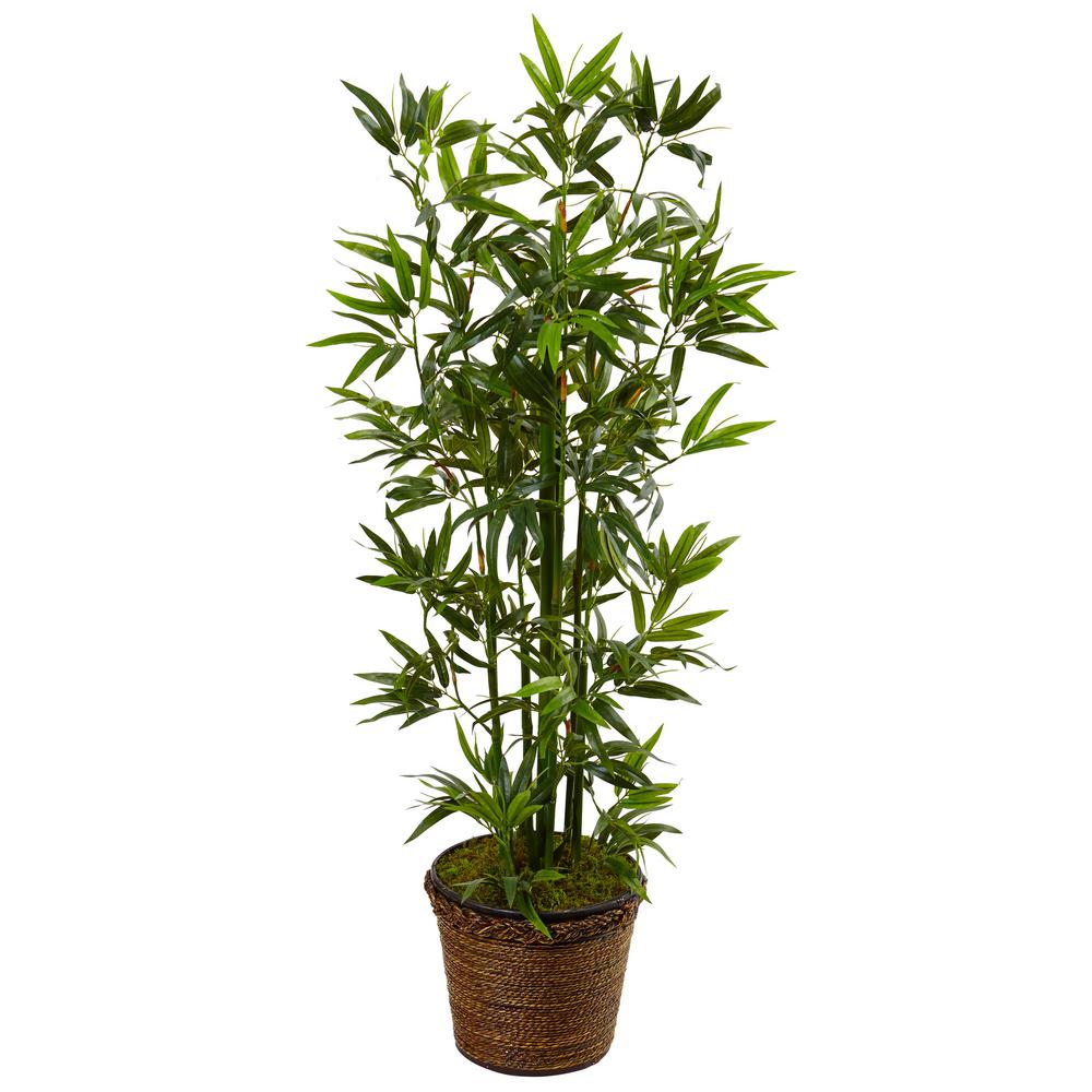 Nearly Natural Indoor Bamboo Artificial Tree In Coiled Rope Planter 5808 The Home Depot