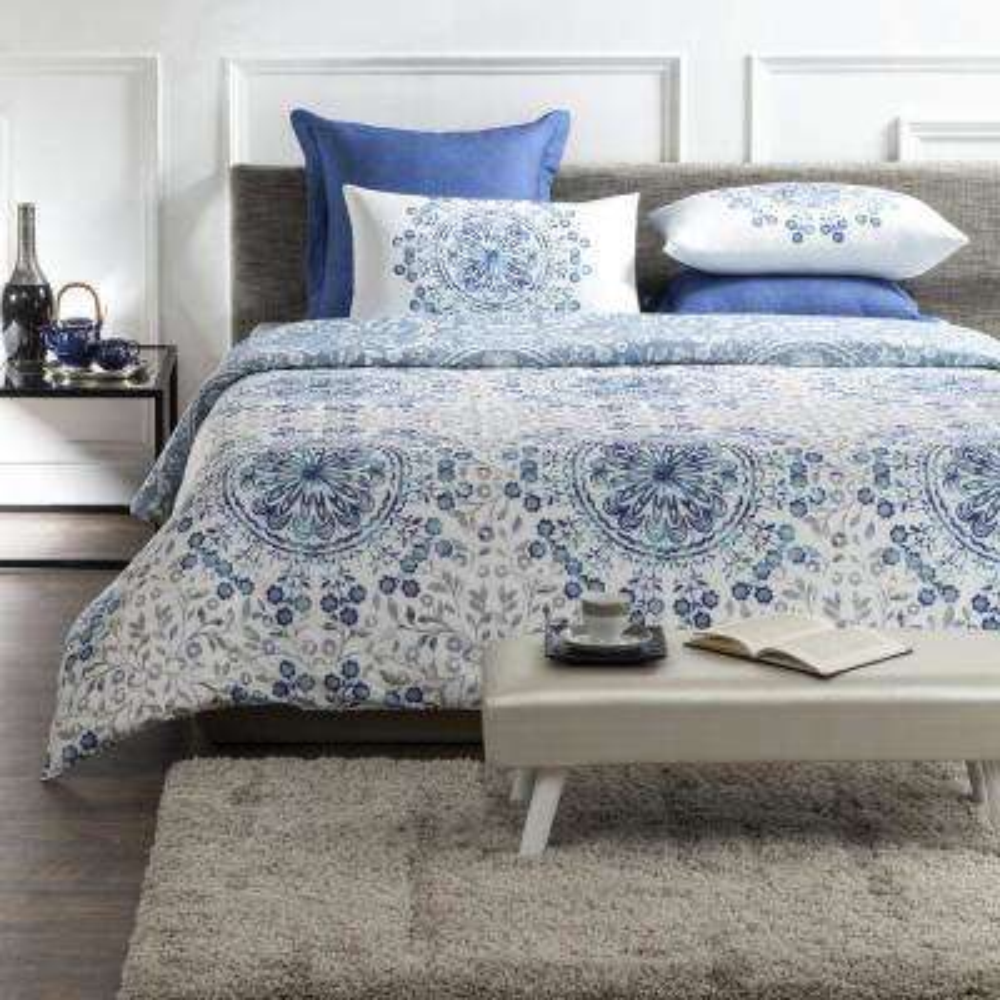 Tiffany Wrinkle Resistant Reversible Print 100% Organic Cotton Blue/White King Duvet Cover Set