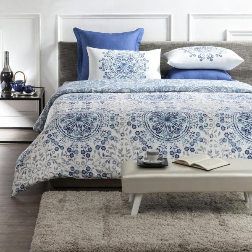Tiffany Wrinkle Resistant Reversible Print 100 Organic Cotton Blue White King Duvet Cover Set