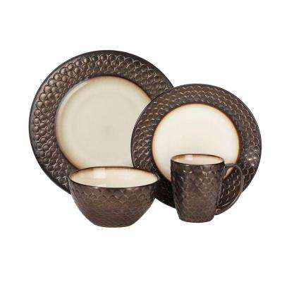 Anais Collection 16-Piece Dinnerware Set in Brown