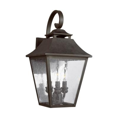Galena 19 in. 3-Light Sable Outdoor Wall Lantern Sconce