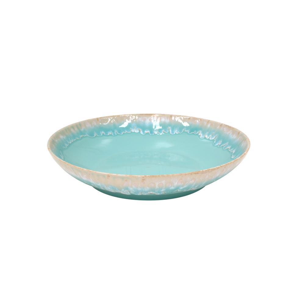 Taormina 13.25 in. 98 fl. oz. Aqua Ceramic Stoneware Serving Bowl