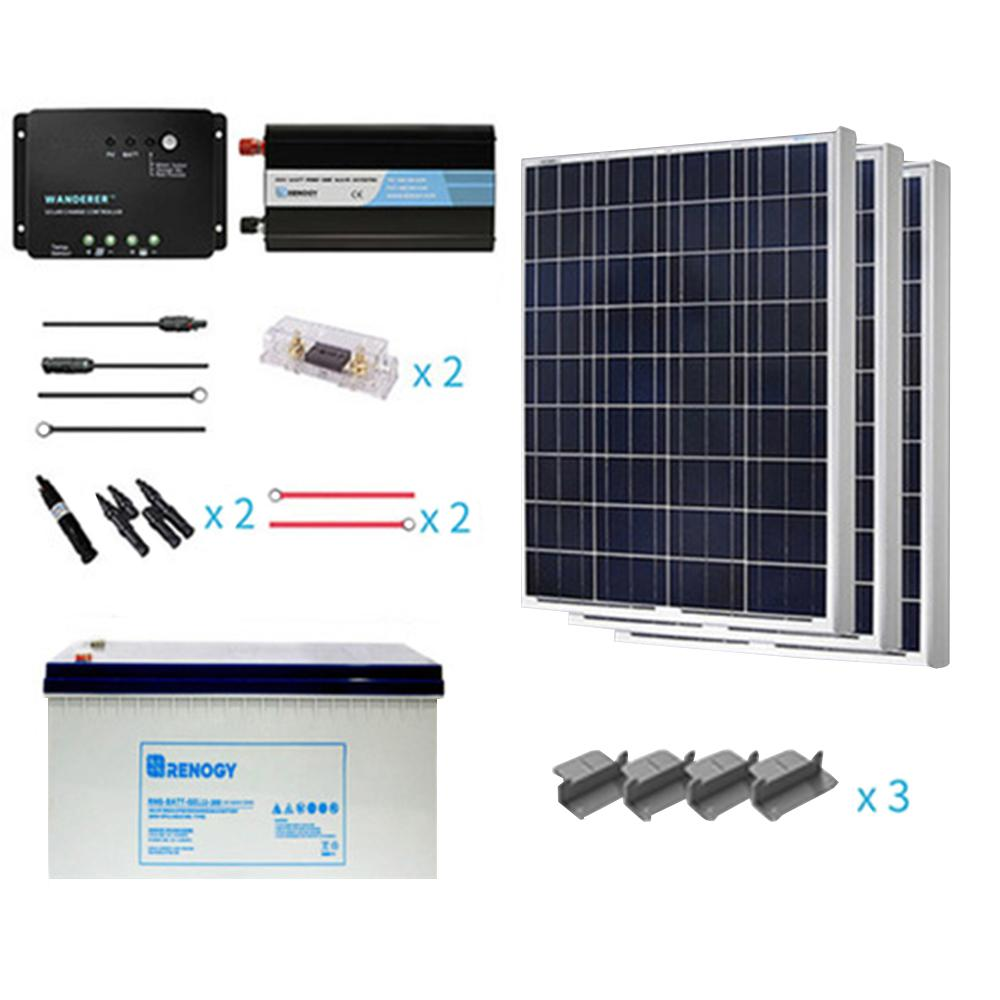 Renogy 300-Wattt Starter Complete Solar Panel Kit Poly Off ...
