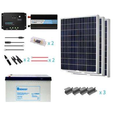 300-Wattt Starter Complete Solar Panel Kit Poly Off Grid Solar with Deep Cycle Pure GEL Battery