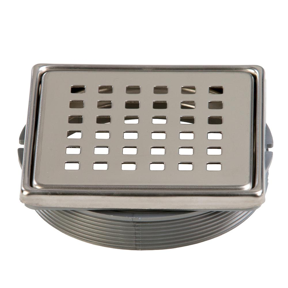 Dural Tilux 4 in. x 4 in. Stainless Steel Adjustable Drain Cover in Chrome