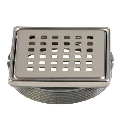Tilux 4 in. x 4 in. Stainless Steel Adjustable Drain Cover in Chrome