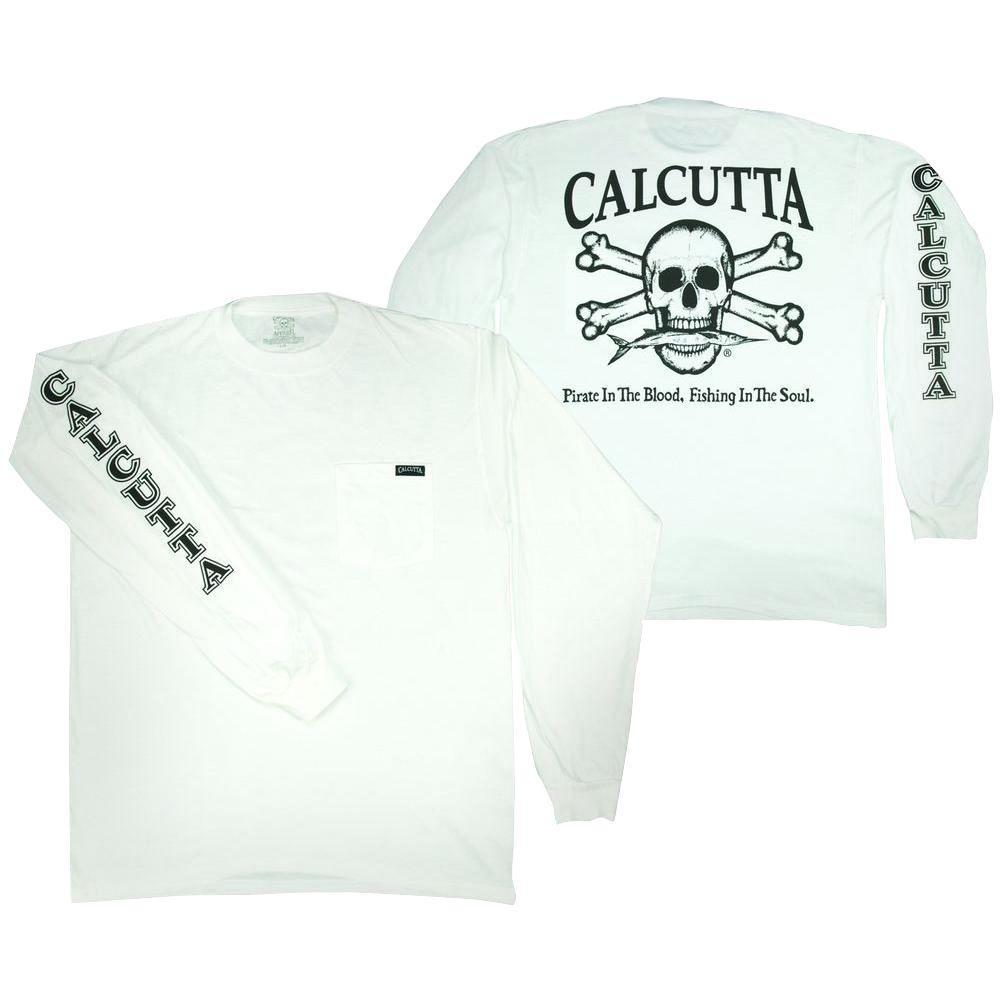 Adult Large Original Logo Long Sleeved Front Pocket T-Shirt in White
