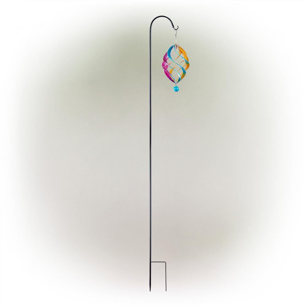 19 in. Multi-Color Metal Wind Spinner with Shepherd's Hook