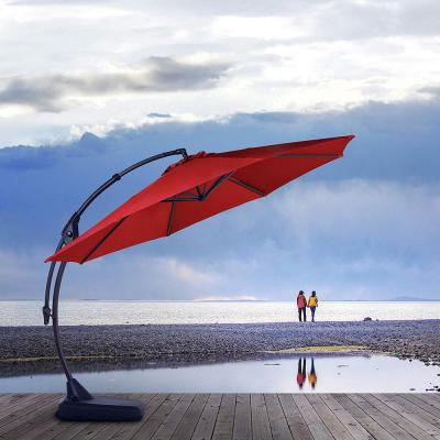 11 ft. Aluminum Pole Octagon Cantilever Patio Umbrella with Base in Red