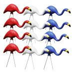 Red, White and Blue Plastic Flamingos Merica Garden Yard Stake Decor (12-Pack)
