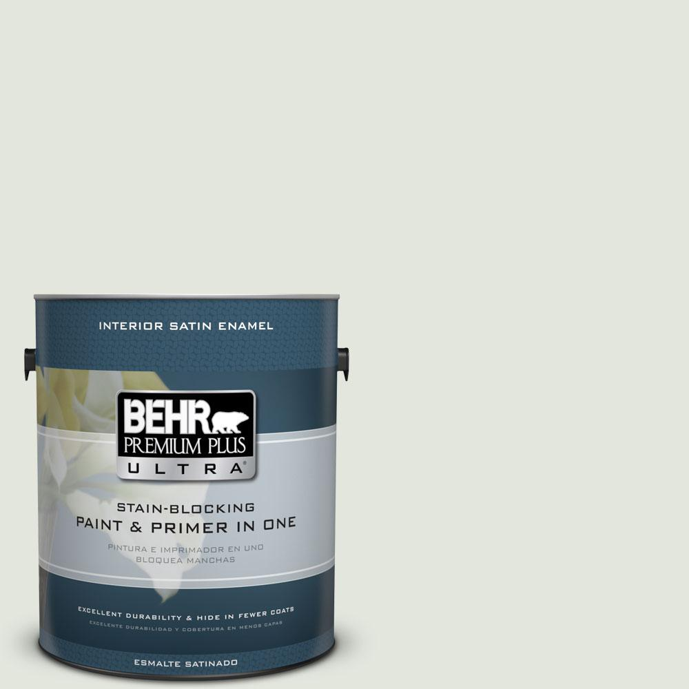 BEHR Premium Plus Ultra 1-gal. #BL-W6 Whispering Waterfall Satin Enamel Interior Paint