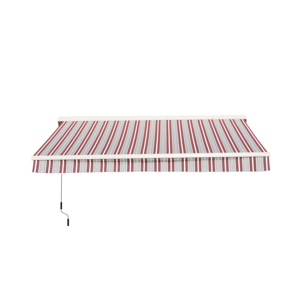 f2d54207b2a Sunjoy Semi-Cassette 10 ft. x 9 ft. White and Red Stripes Awning ...