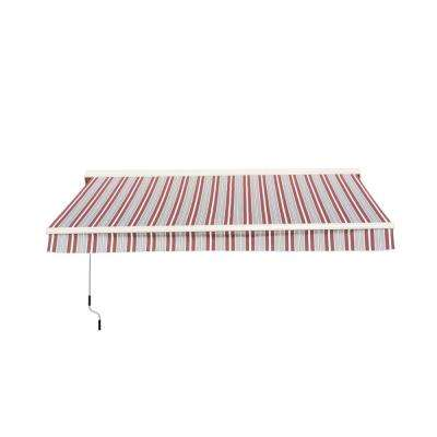 Semi-Cassette 10 ft. x 9 ft. White and Red Stripes Awning