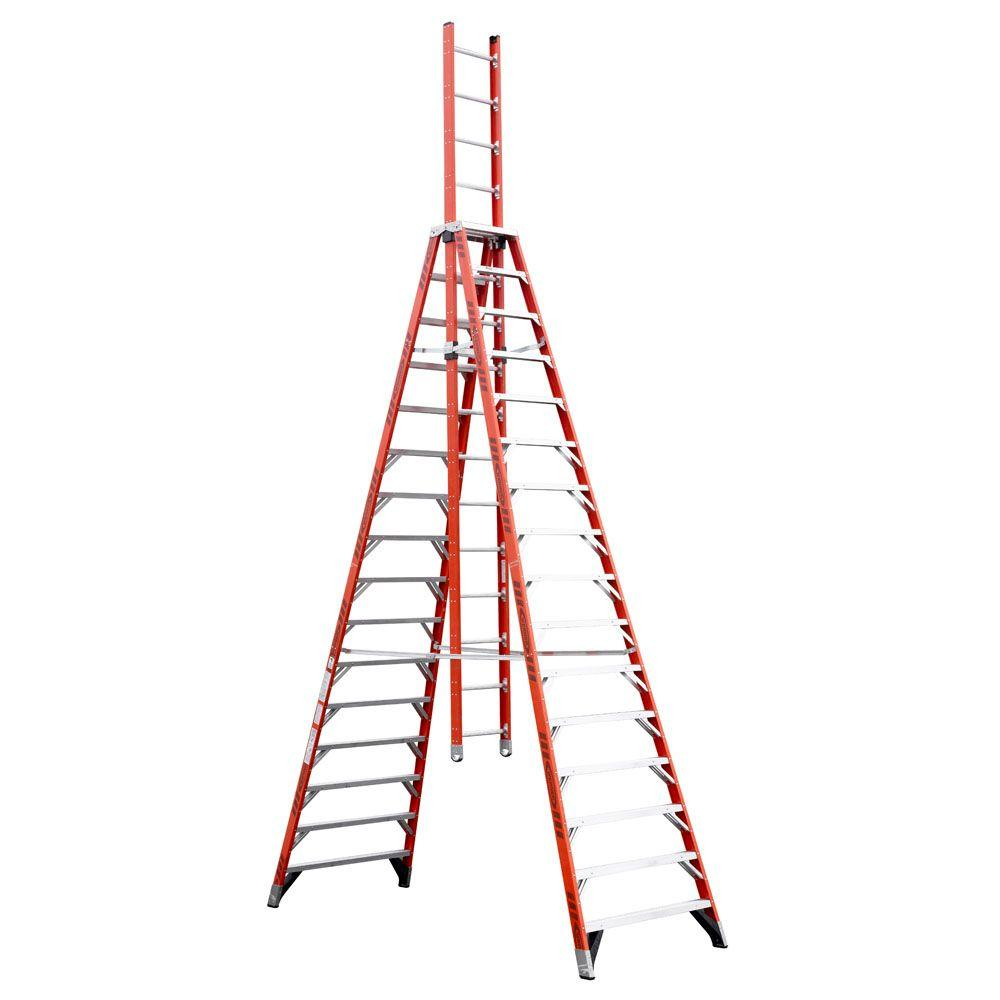 Werner 16 Ft Fiberglass Extension Trestle Step Ladder With 300 Lb Load Capacity Type Ia Duty Rating E7416 The Home Depot