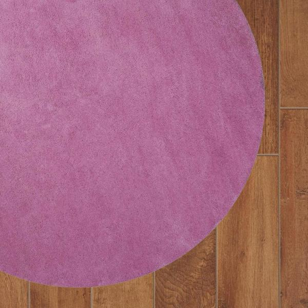 Hot Pink 8 Ft Round Polyester Area Rug