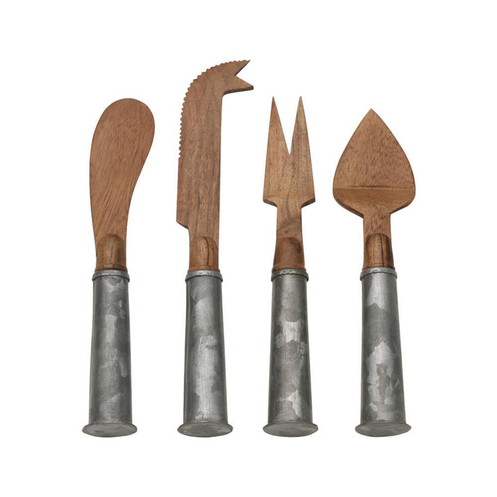 4-Piece Galvanized Iron and Wood Cheese Set