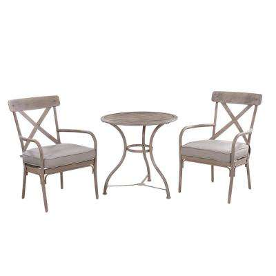 Marquette 3-Piece Metal Outdoor Balcony Height Bistro Set with Tan Cushions