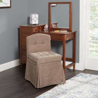 Sally Skirted Swivel Tan Camelback Vanity Chair with Tufted Cushions