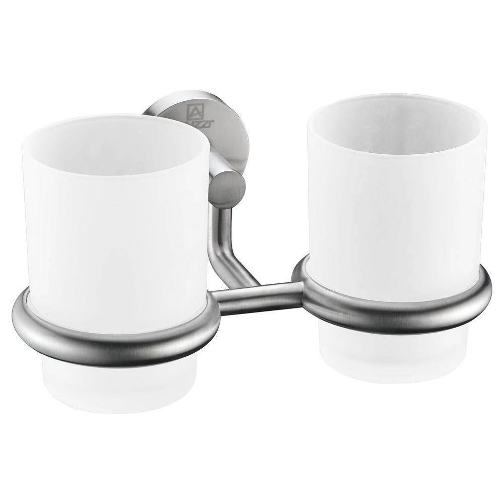 Double Toothbrush Holder In Brushed Nickel