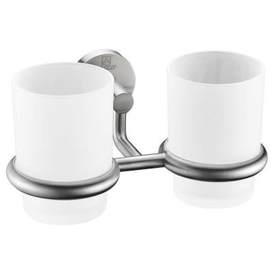 Caster Series 7.36 in. Double Toothbrush Holder in Brushed Nickel