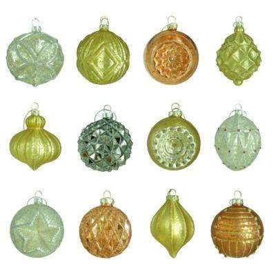 80 mm holiday shimmer assortment ornament 12 count - Glass Christmas Tree Decorations