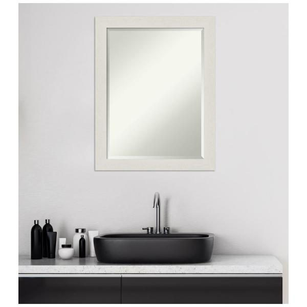 Amanti Art Medium Rectangle Distressed Creamwhite Beveled Glass Modern Mirror 27 38 In H X 21 38 In W Dsw4593091 The Home Depot