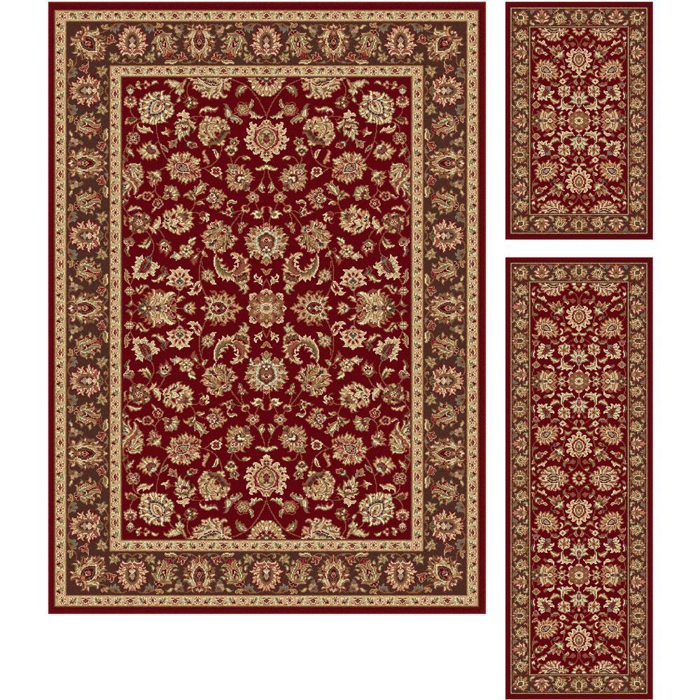 Tayse Rugs Elegance Red 5 Ft X 7 Ft 3 Piece Rug Set 5370
