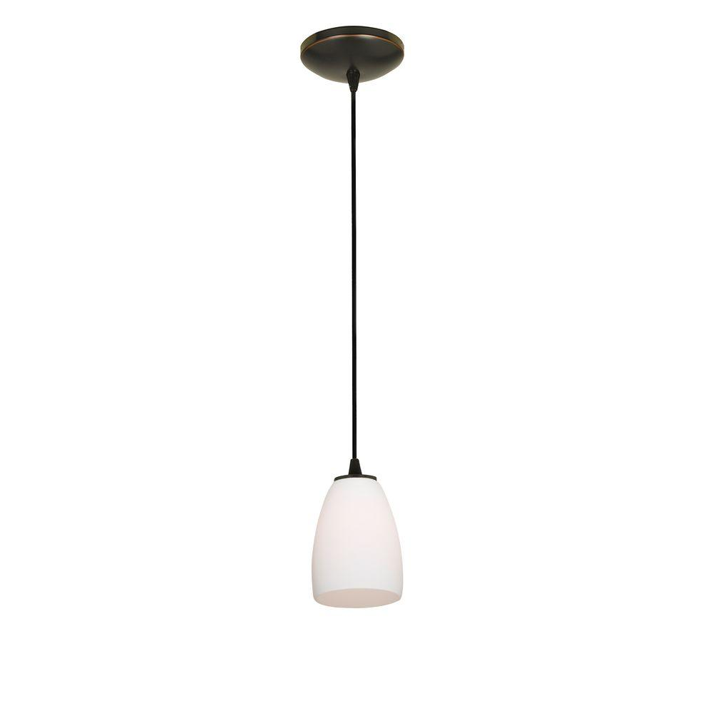 Access Lighting Sherry 1-Light Oil-Rubbed Bronze Metal Pendant with Opal Glass Shade