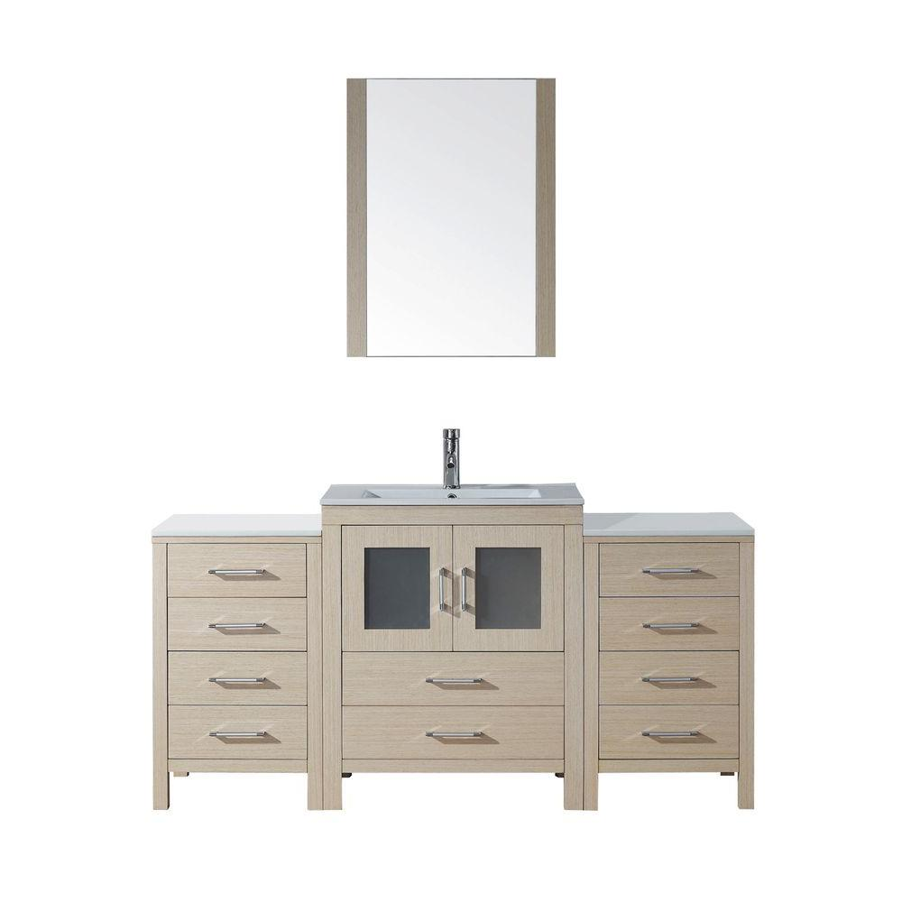 Virtu USA Dior 64 in. Vanity in Light Oak with Ceramic Vanity Top in White and Mirror-DISCONTINUED