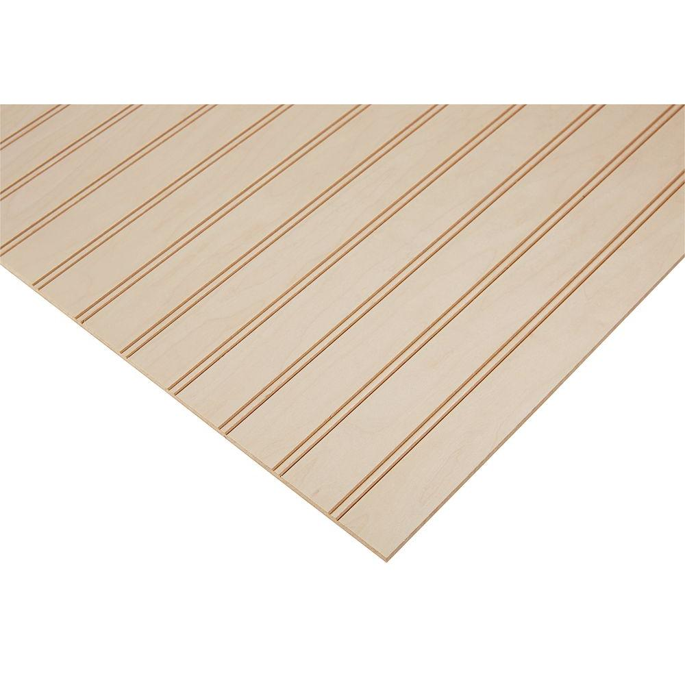 "Columbia Forest Products 1/4 in. x 4 ft. x 4 ft. PureBond Maple 1-1/2"" Beaded Plywood Project Panel (Free Custom Cut Available)"