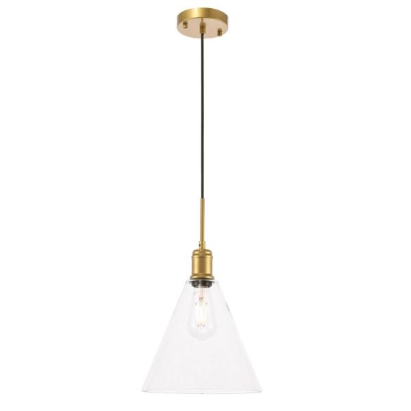 Timeless Home Hansen 1-Light Pendant in Brass with 10 in. W x 9 in. H Clear Glass Shade Glass