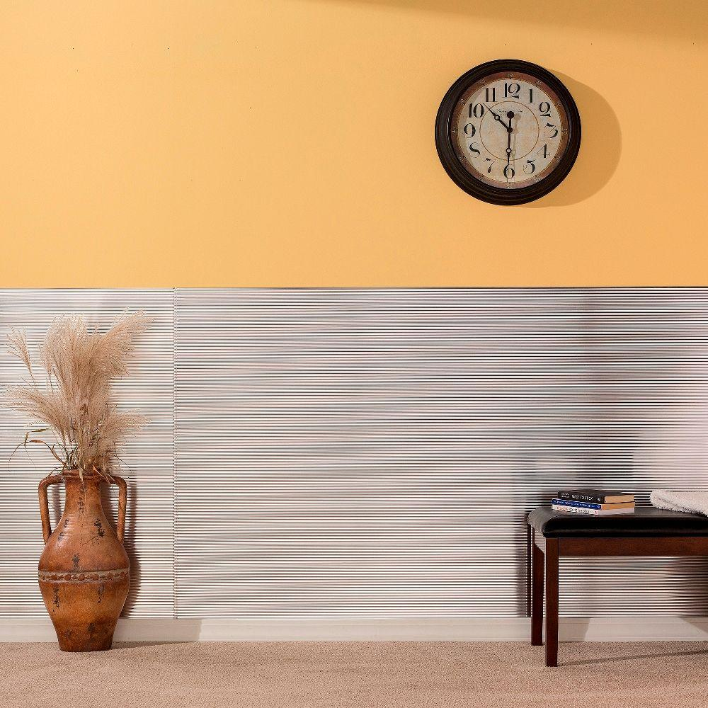 Fasade Rib 96 in. x 48 in. Decorative Wall Panel in Coppe...