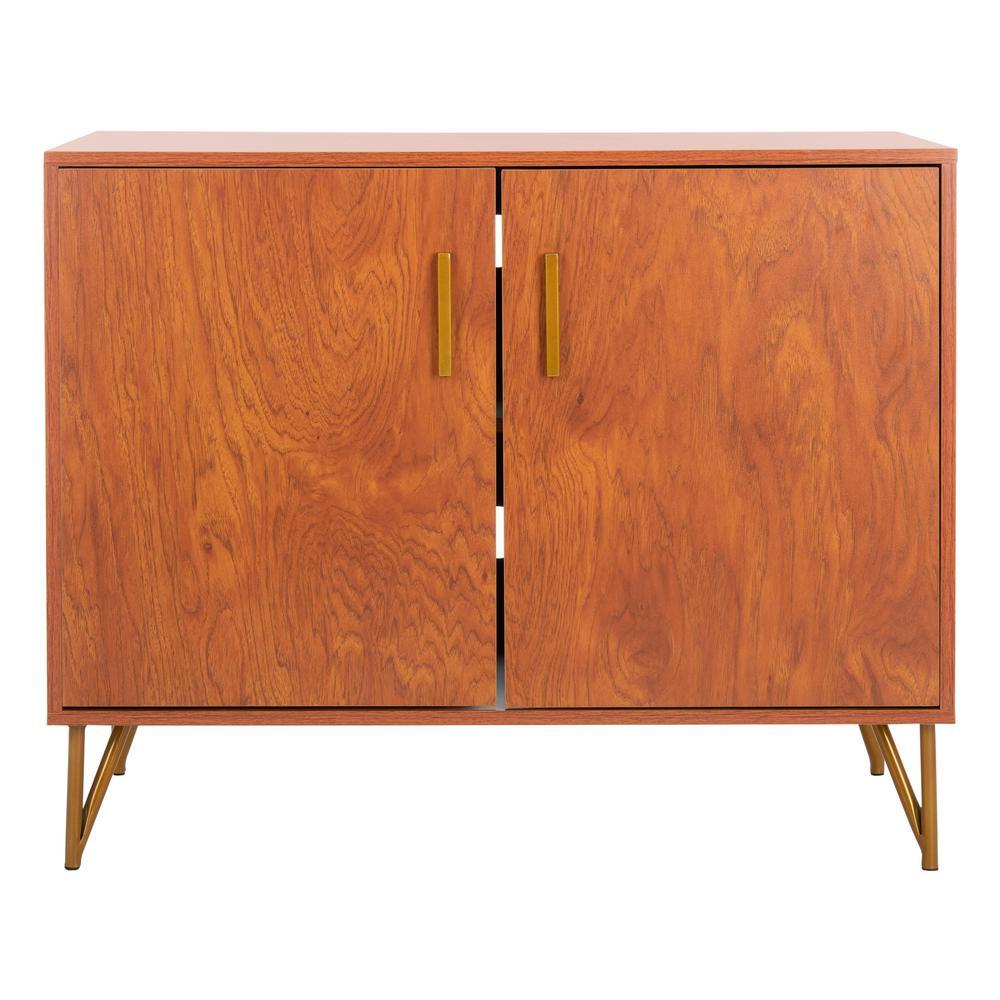 Pine Natural/Gold 2-Door TV Stand