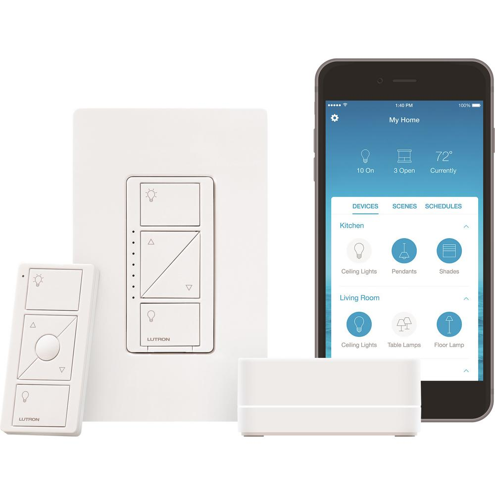 Lutron Caseta Wireless Smart Lighting Dimmer Switch Starter Kit P Decora 15 Amp 4way Whiter58056042ws The Home Depot