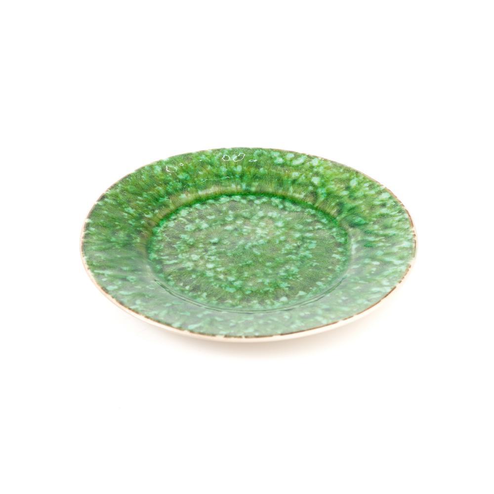 Bali 4-piece Green & White Ceramic Salad Plate Set