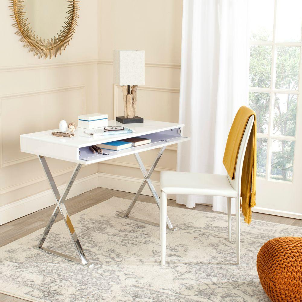 Gordon White and Chrome Desk