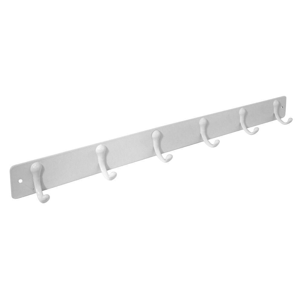 Flat Bar Wall-Mount 6 Hook Rack in White