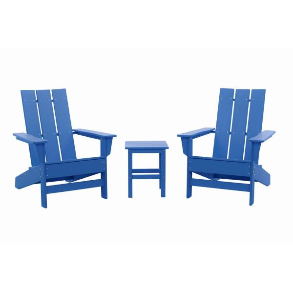 Aria Royal Blue Recycled Plastic Modern Adirondack Chair with Side Table (2-Pack)