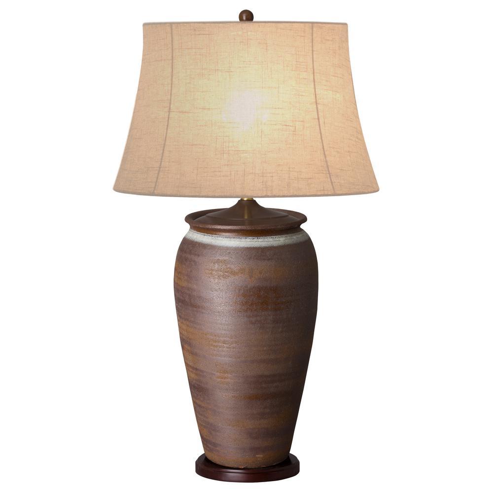 39 in. Rustic Brown Tall Ceramic Vase Table Lamp
