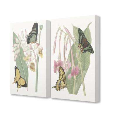 """16 in. x 20 in. """"Butterflies Plants And Flowers Illustration"""" by Vision Studio Printed Canvas Wall Art (2-Piece)"""