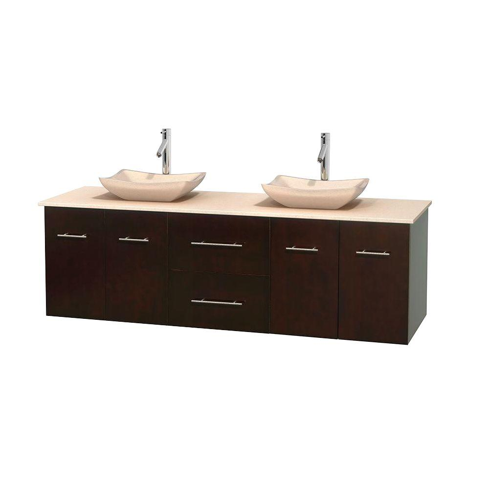 Wyndham Collection Centra 72 in. Double Vanity in Espresso with Marble Vanity Top in Ivory and Sinks