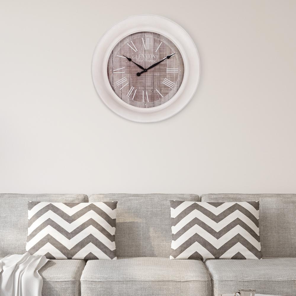 Woodgrain Whitewash and Gray Wall Clock